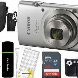 Canon PowerShot ELPH 180 20MP 8X Zoom Digital Camera Silver Bundle