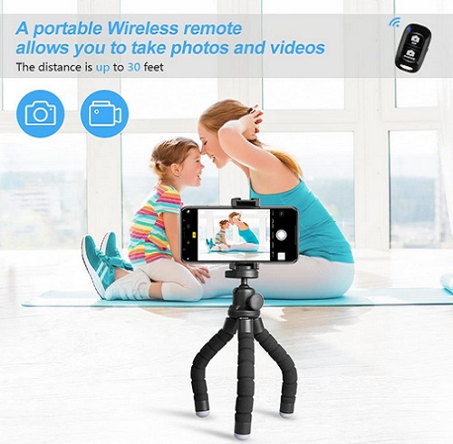 UBeesize Phone, Portable And Flexible Tripod With Wireless Remote